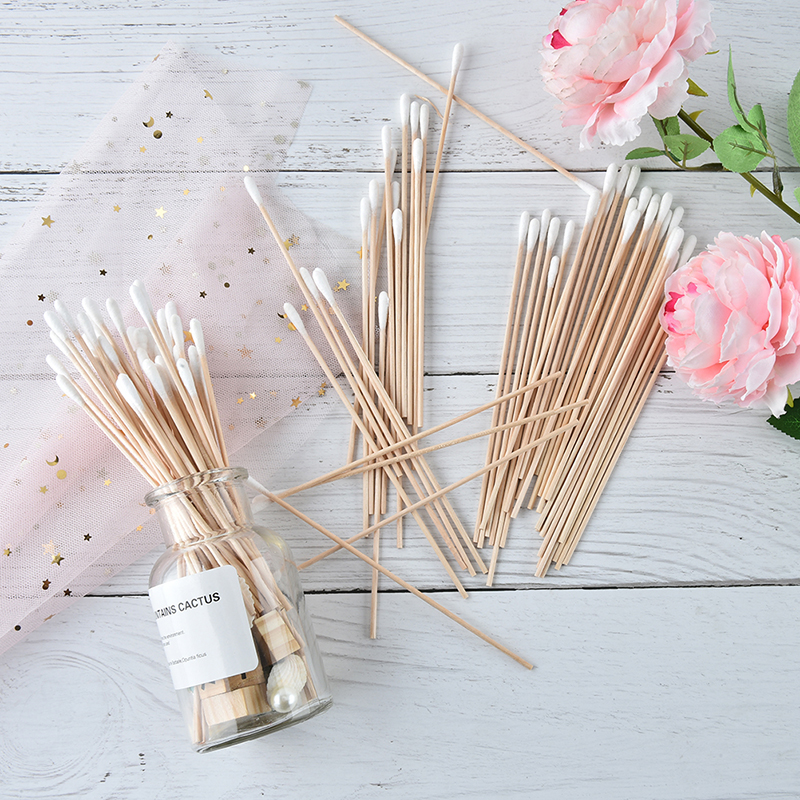100Pcs/pack Cotton Swab 15cm Medical Swab Wood Handle Cotton Applicator Extra Long Sturdy Make Up Tools