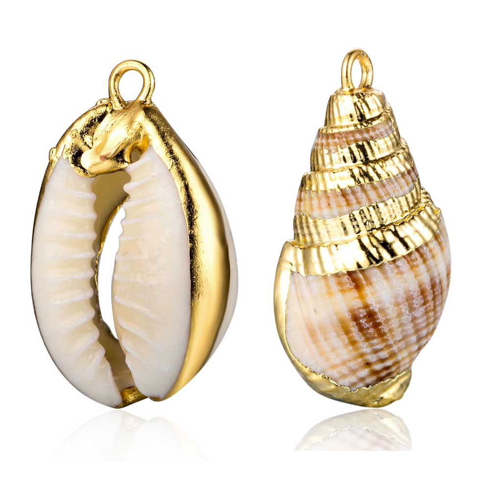 3pcs/lot Gold Filled Real Natural Sea Shell Conch Charm Pendants Wholesale Trendy Jewelry Pendant Accessories