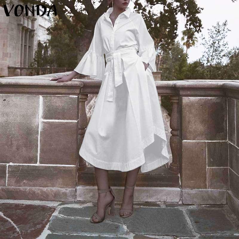 VONDA Bohemian Party Dress 2020 Women Casual Turn Down Neck Flare Sleeve Dresses Plus Size Beach Sundress S-5XL Robe Femme