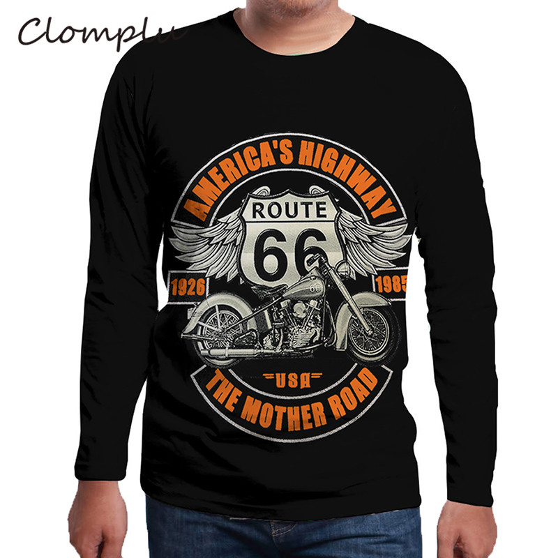 Clomplu Cool T-shirt American's Highway Motorcycle Print Clothing For Man Long Sleeve T Shirt Plus Size 5XL 6XL Tops Black Color