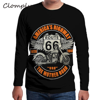 Clomplu Cool T-shirt American's Highway Motorcycle Print Clothing for Man Long Sleeve T Shirt Plus Size 5XL 6XL Tops Black Color long sleeve plus size palm print asymmetrical t shirt