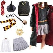 Crianças halloween slytherin cosplay traje menina dos homens mulheres manto capa camisola saia feiticeiro magia escola uniforme roupas