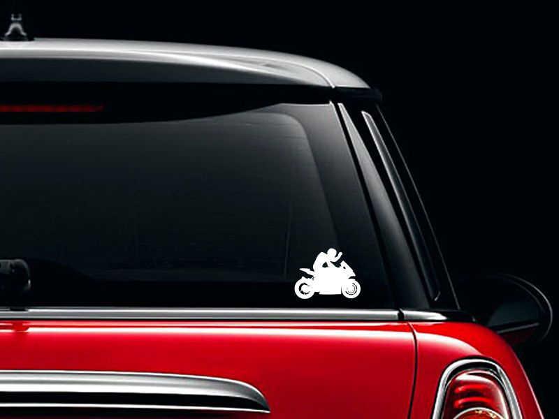 Pengendara Sepeda Motor Melambai Pada Penonton Vinyl Mobil Stiker untuk Mobil Outlet Dekorasi Hot Jual FA546