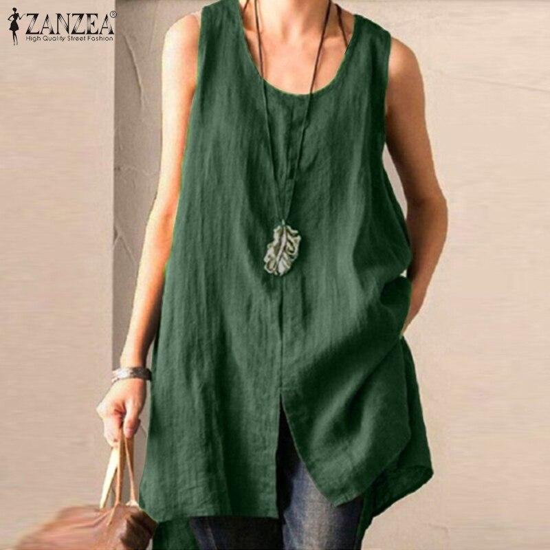 ZANZEA Summer Cotton Linen Blouse Women Sleeveless Tanks Tops Vintage Solid Loose Blusas Plus Size Tunic Split Shirt Female(China)