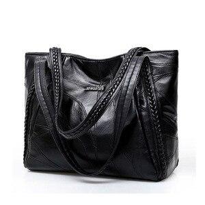 Image 1 - בציר גדול קיבולת עור מפוצל כתף שקיות נשים אופנה מוצק צבע שחור תיקי נקבה מזדמנים תיק גדול