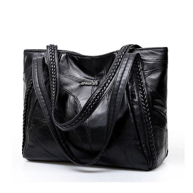בציר גדול קיבולת עור מפוצל כתף שקיות נשים אופנה מוצק צבע שחור תיקי נקבה מזדמנים תיק גדול