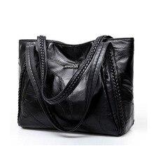 Sacolas de ombro de couro do plutônio da grande capacidade do vintage para a forma feminina cor sólida preto bolsas femininas casuais grande tote