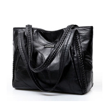 Sacs à main Vintage en cuir Pu pour femmes, sacs à épaule grande capacité mode couleur unie noir, grand fourre tout, décontracté