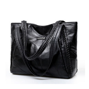 Image 1 - Vintage Large Capacity Pu Leather Shoulder Bags for Women Fashion Solid Color Black Handbags Female Casual Big Tote