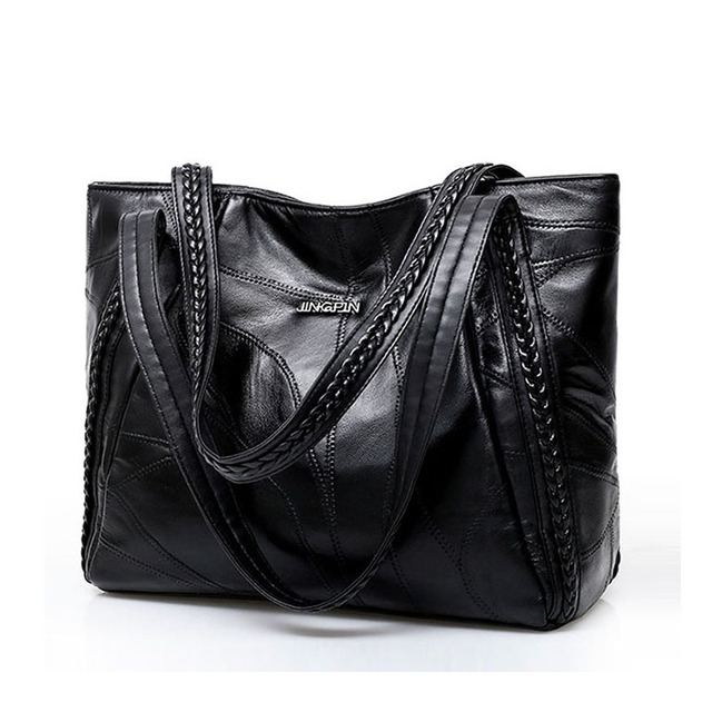 Vintage Large Capacity Pu Leather Shoulder Bags for Women Fashion Solid Color Black Handbags Female Casual Big Tote