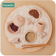 Bopoobo Wooden Montessori Cutlery Pretend Play Tea Set Wooden Educational Activity  Kitchen Food Toy Inspired Wooden Child Toys