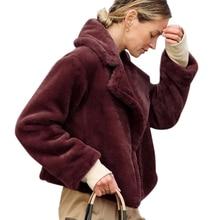 Faux Fur Short Coat Women Plus Size Winter Warm Jacket Turn-down Collar Fashion Slim manteau fourrure femme D25