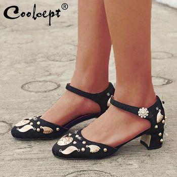Coolcept Women Sandals National Style Rhinestone Flower Wedding Shoes Women New Summer High Heels Party Footwear Size 34-40