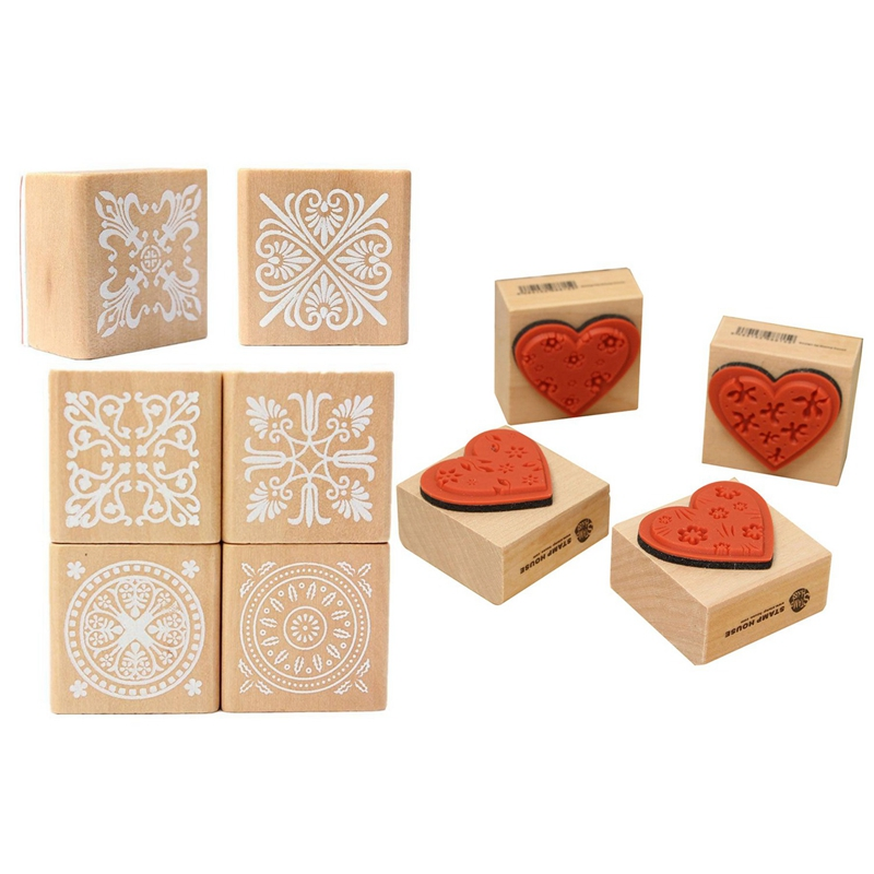 10 Pcs Wooden Stamp : 6 Pcs Assorted Wooden Stamp Rubber Seal Square Handwriting DIY Craft Flower Lace With 4 Pcs DIY Love Heart