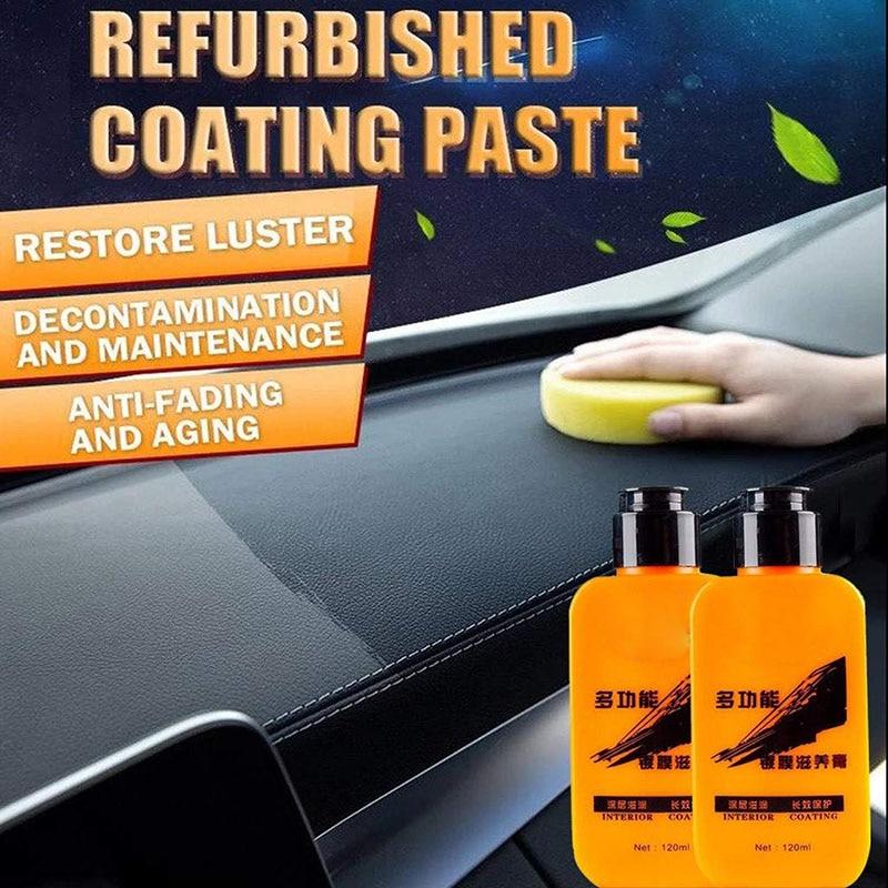 120 mlauto couro renovado revestimento pasta descontaminação anti-envelhecimento agente de manutenção interior do carro couro remodelação cleaner