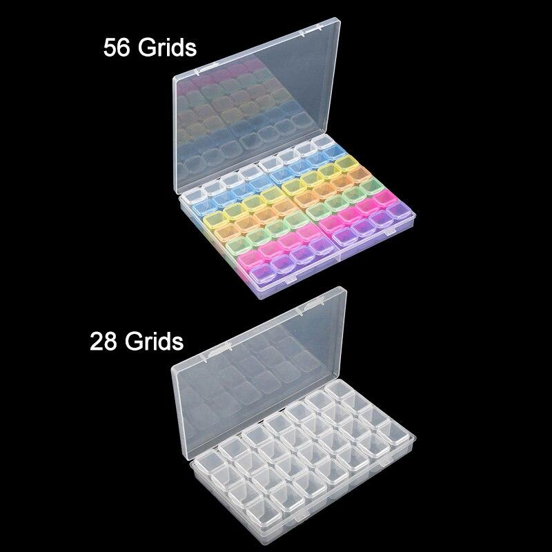 Accesorios de U/ñas,DIY 5D Diamond Painting y Cross Stitch Contenedor 3 Pcs//Caja Organizadora de 28 Rejillas,caja de Bordado de Diamantes Caja de Almacenamiento para Accesorios de Pintura,Joyer/ía