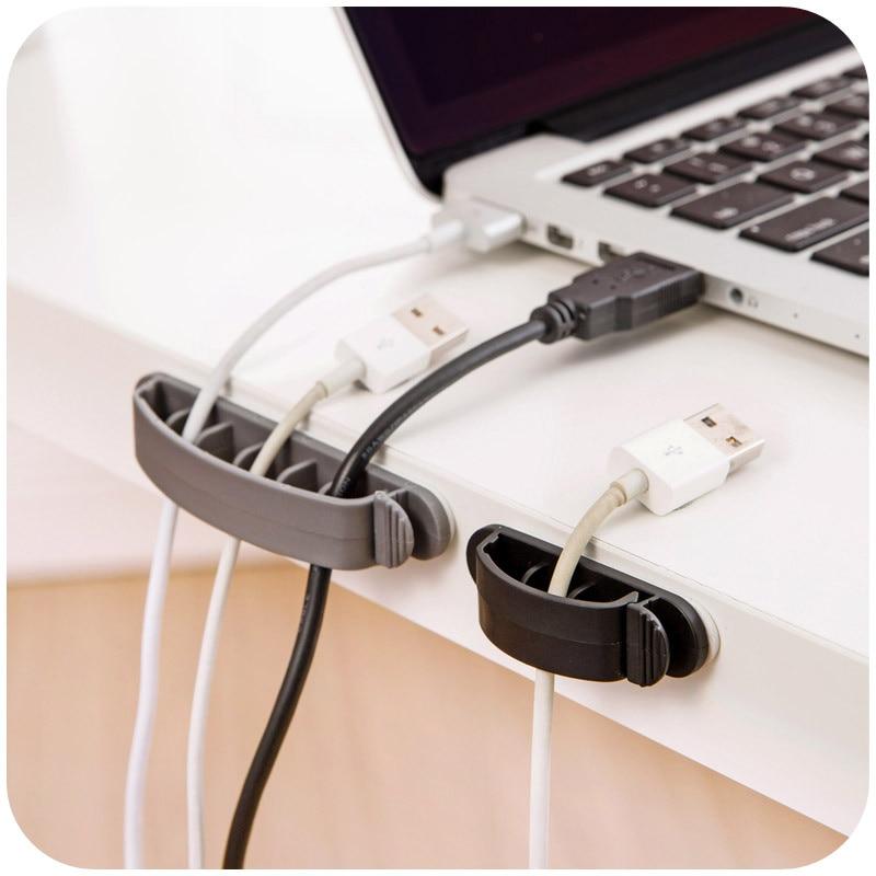 Clip Ties Cable Storage Holder Fixer Desktop Cable Winder EarphoneWire Organizer