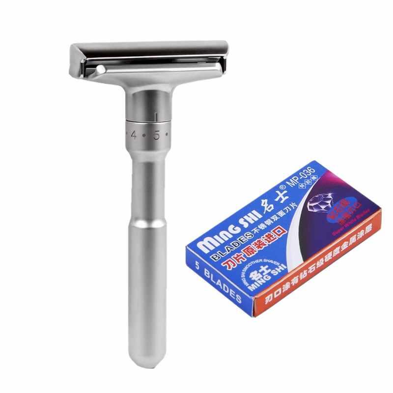 TFLYSHAVE Männer Einstellbare Sicherheits Razor Doppel Rand Klassische Rasur Mild zu Aggressive 1-6 Datei Haar Entfernung Rasierer mit 5 klingen