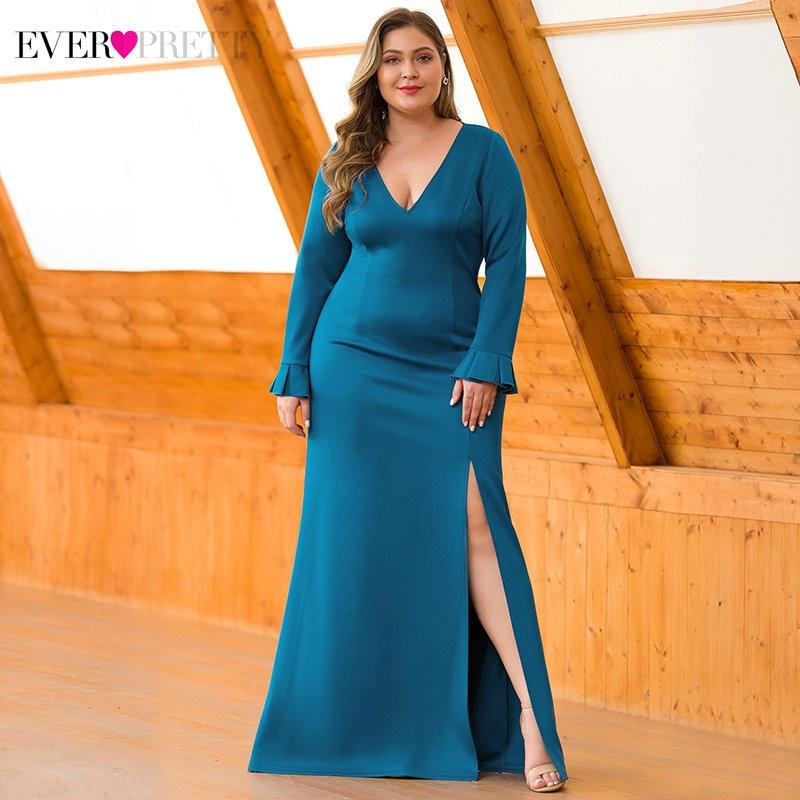 Plus Size Teal Evening Dresses Ever Pretty Deep V-Neck High Split Full Sleeve Draped Mermaid Formal Evening Gowns Vestidos 2020