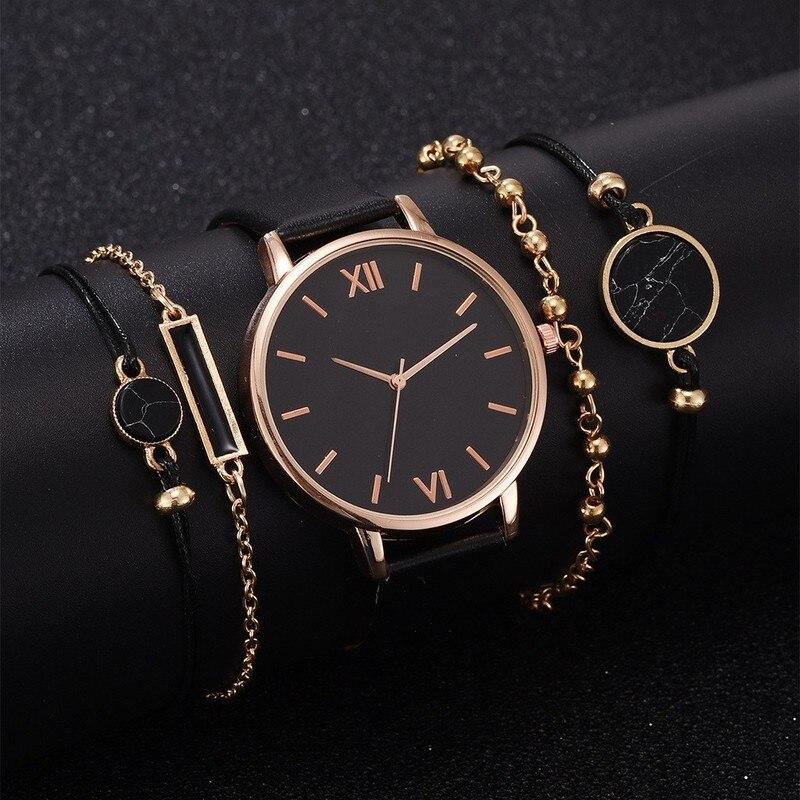 5 pçs relógio feminino conjunto mulher quartzo relógio de pulso de couro senhoras pulseira relógio de luxo casual relogio femenino presente para namorada