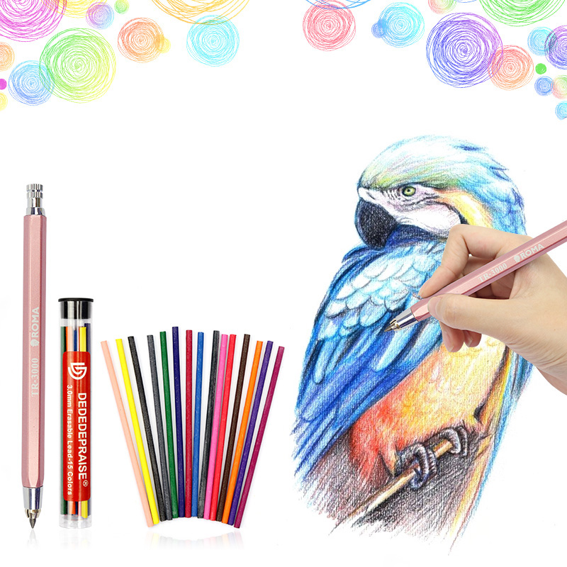 15 Colors 3.0mm Lead Refills Mechanical Colored Drawing Automatic Pencil And 4.0mm Charcoal Core Sketch Carbon Pencil Art Set