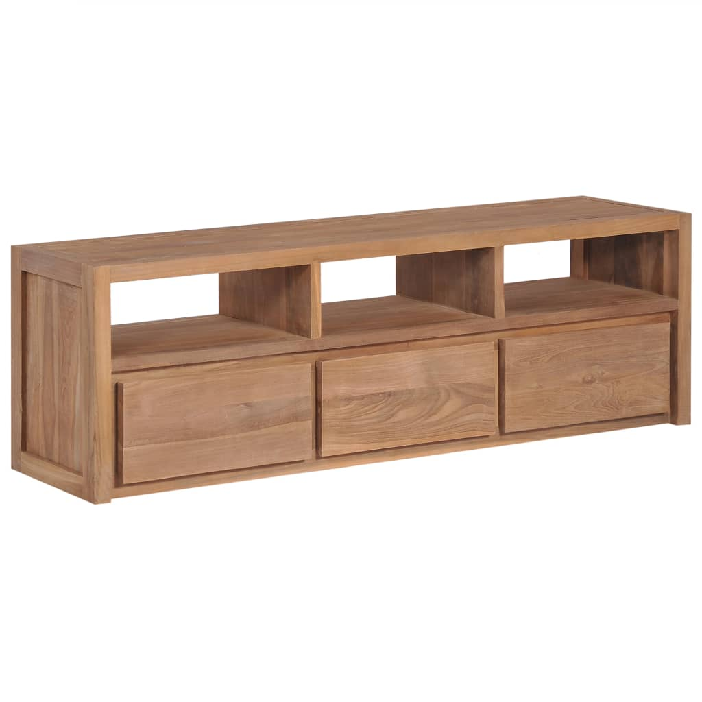 VidaXL TV Cabinet Solid Teak Wood With Natural Finish 120x30x40 Cm