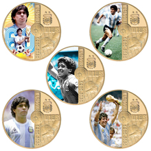 1960-2020 RIP Diego Maradona Gold Plated Souvenir Coins Set with Coin Holder Football Number 10 Challenge Coin Gift for Fans