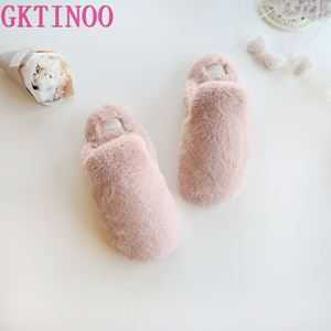 Image 2 - Lovely Faux Rabbit Fur Winter Women Home Slippers For Indoor Bedroom House Soft Bottom Cotton Warm Shoes Adult Guests Flats