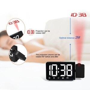 Image 3 - LED 시간 프로젝션 디지털 알람 시계 FM 라디오 스누즈 기능 테이블 시계 시간 메모리와 조절 조명 책상 시계