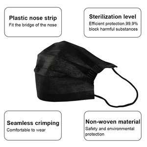 Image 3 - 10/20/50/100Pcs Mouth Mask Disposable Black Cotton Mouth Face Mask Mask Non woven Mask Earloop Activated
