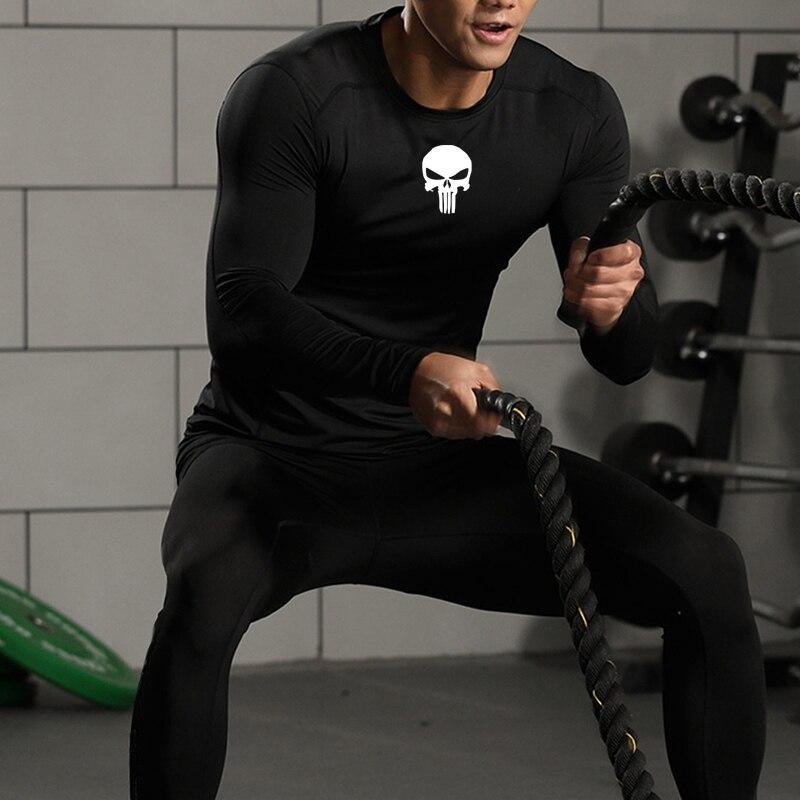 Roupas masculinas marca conjunto de compressão punisher ginásio workout collants de secagem rápida crânio mma tático underwear rash guard masculino esporte