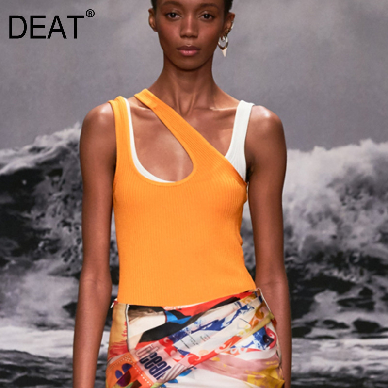 DEAT 2020 New Summer Fashion Casual Hollow Out Backless Solid Oblique Shoulder Round Collar Elastic Slim Top Vest Women SB843