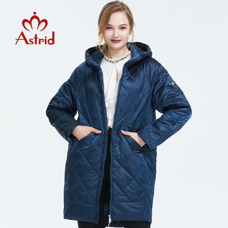 Astrid 2019 outono nova chegada jaqueta feminina outerwear de alta qualidade com um capuz estilo moda longa fina algodão casaco am-9176