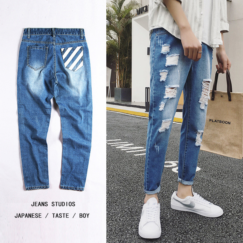 2018 New Style Men With Holes Jeans Spring And Summer New Style Korean-style Trend Slim Fit BOY'S 9 Pants