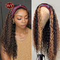 Бразильские волосы с эффектом деграде (переход от Джерри вьющиеся парик с головной повязкой 26 дюймов Мёд блондинка изюминка парики из натур...