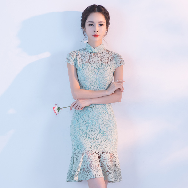 Cheongsam Spring 2017 New Style GIRL'S Fashion Modified Version Of Short Students Lace Dress Fishtail Daily Life Summer