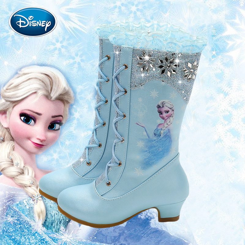 Disney Frozen Girls Shoes Autumn And Winter New High Boots Girls Princess High-heeled Children Sequins Snow Boots Frozen Boots
