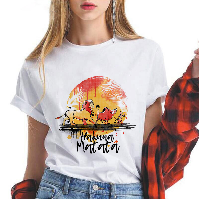 Showtly  Lion King HAKUNA MATATA Women T Shirt It Simba Best Friends Harajuku Kawaii Streetwear Korean Style Oversized T Shirt