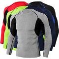 Camisa atlética masculina magro esportes base camada ajuste apertado topos estiramento manga longa lazer esportes estiramento camisa