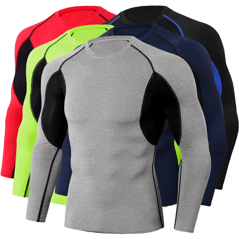 Men Slim Athletic Shirt Sports Base Layer Tight Fit Tops Stretch Long Sleeve Leisure Sports stretch shirt