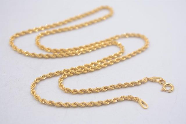 Pure 18k Yellow Gold Chain Unisex Luck 2mmW Rope Link Chain Necklace 18inches 2.61g 4