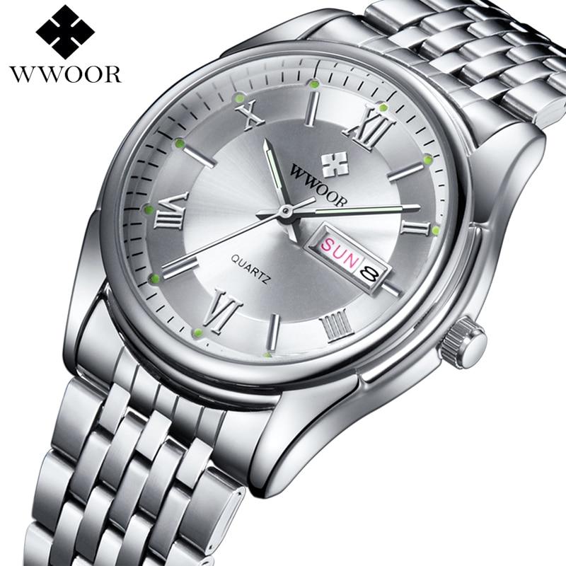 WWOOR 2020 High End Classics Mens Quartz Watches Luxury Brand Waterproof Silver Steel Date Clock Men Wrist Watch Erkek kol Saati