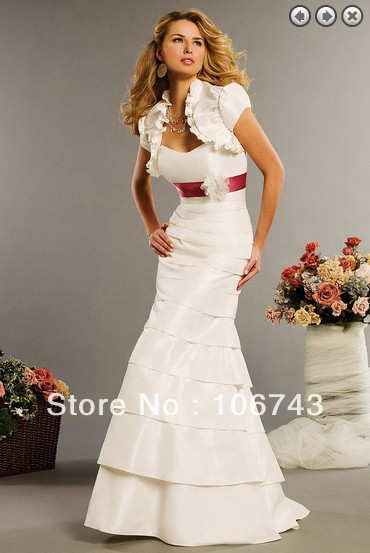 Free Shipping Wedding Decoration Maxi Dresses 2016bridal Gowns Vestidos Formales White Long Dress Wedding Dresses With Jacket