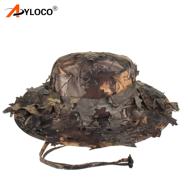 Outdoor 3D Bionic Leaf Hat Camping Hunting Camo Boonie Cap Quick Dry for Men