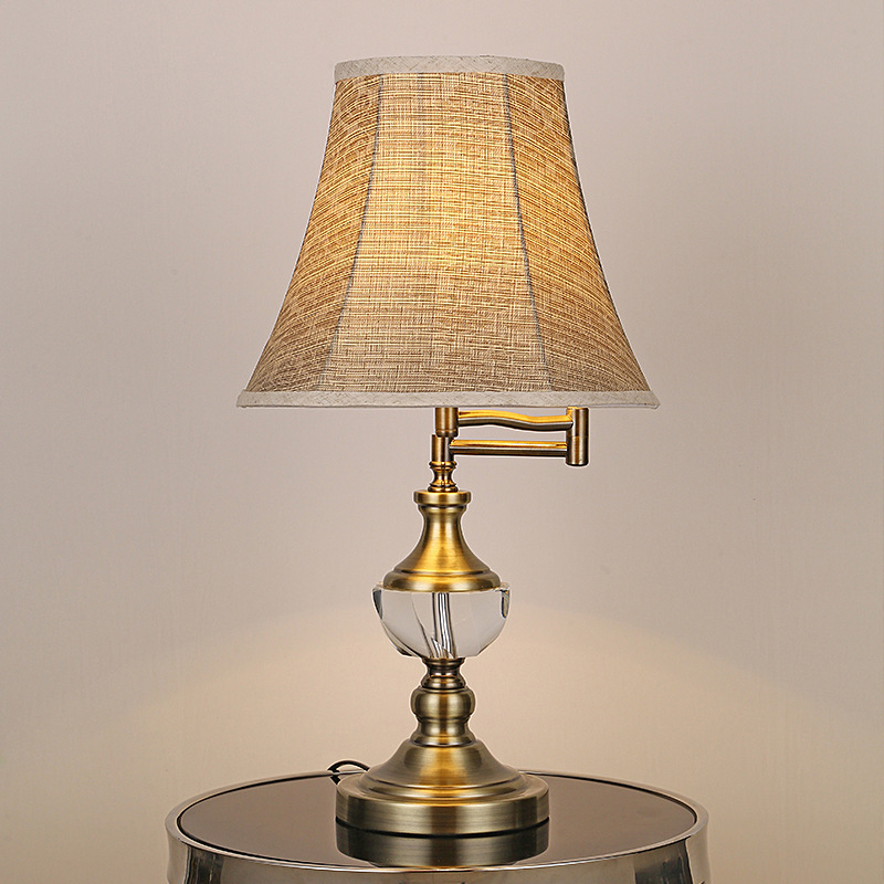 luz da tabela de cristal europeu lampada mesa balancim tecido luz sala estar cabeceira quarto candeeiro