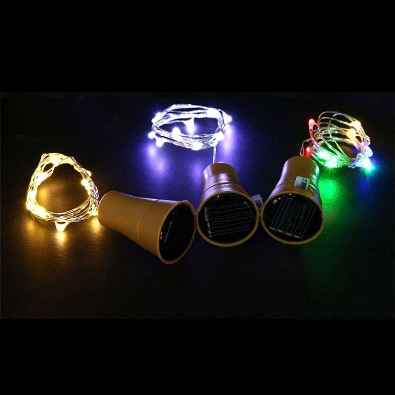 1m 2m New Solar-powered Wine Bottle Cork-shaped String Starry Light 10 LED Night Fairy Light Lamp Fashion