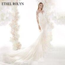 فساتين زفاف رومانسية حورية البحر من ETHEL ROLYN 2020 كم طويل مثير على شكل قلب لامع الوهم فساتين زفاف Vestido De Noiva