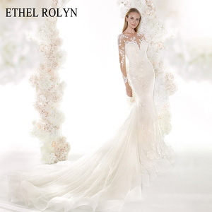 Image 1 - ETHEL ROLYN Romantic Mermaid Wedding Dresses 2020 Long Sleeve Sexy Sweetheart Shining Illusion Wedding Gowns Vestido De Noiva