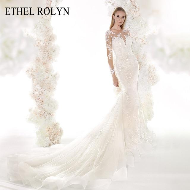ETHEL ROLYN Romantic Mermaid Wedding Dresses 2020 Long Sleeve Sexy Sweetheart Shining Illusion Wedding Gowns Vestido De Noiva