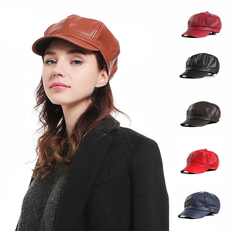Paris Girl Red Black Felt PU Leather Octagonal Hat Women Fashion Elegant Beret Caps Girl Hip Hop Streetwear Retro Gorras Female
